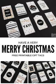 a merry printable gift tags black and gold