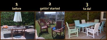 bring new life to old plastic patio furniture with spray paint for