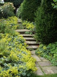 view of stone steps through the old walled garden at nunnington