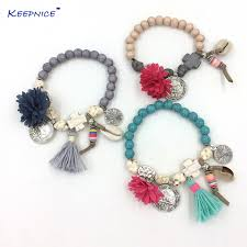 rosary bead bracelet bohemia jewelry friendship bracelet vintage tassel flower charm