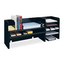 office raised shelf design desk organizer 3 movable shelves two