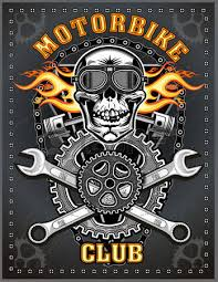 vintage motorcycle skull and piston royalty free cliparts