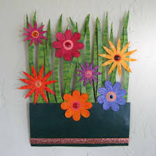 hand crafted handmade upcycled metal flower garden wall art