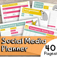 social media planner printable social media planner download