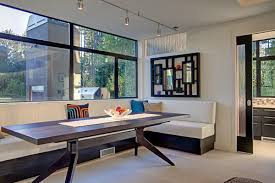 Window Seat Bench - excellent idea of window seat bench as part of dining table