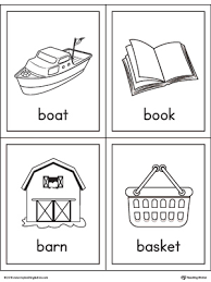 letter b words and pictures printable cards boat book barn