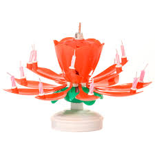 red musical flower birthday candles lotus flower spinning candles