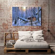Wolf Bedliners A0411 Snow Forest Natural Scenery Animals Wolf Hd Canvas Print Home