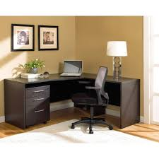 black and white modern l shaped computer desk with wooden material
