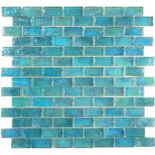 Tile Mosaic Glass Tiles Glass Mosaic Tile Backsplash - Teal glass tile backsplash