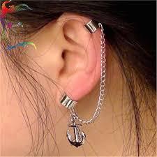 cool earrings jewelry fashion show anchor tassle chain clip stud earrings