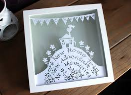 handmade personalised new home papercut in a white stylish box