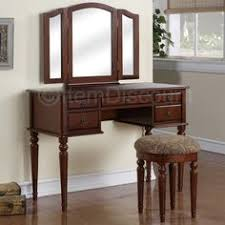Vanity Mirror And Bench Set Classic Vanity With Tri Fold Mirror And Bench Espresso Classic