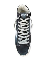 navy blue cotton and leather u0027francy u0027 hi top sneakers from golden
