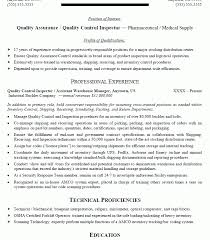 Shipping And Receiving Resume Sample by Qa Qc Inspector Resume Sample Contegri Com
