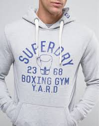 superdry hoodie with boxing print vintage grey grindle men