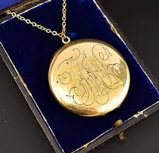 large locket necklace images Large edwardian engraved gold locket necklace c 1908 boylerpf jpg