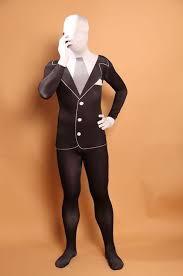 Slender Man Halloween Costume 2017 Slender Man Business Costume Teen Spandex Bodysuit