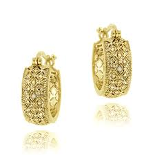 hoop earrings gold db designs 18k yellow gold silver diamond accent filigree
