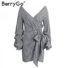 buy long sleeve women dress shirt off shoulder bow tie plaid