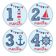 amazon com pinkie penguin baby monthly stickers nautical theme