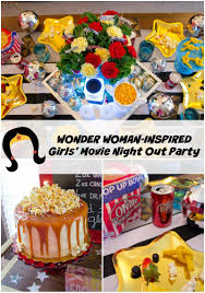home movie in theaters wonder woman inspired girls u0027 movie night out party revel and glitter