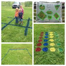 summer fun outdoor yard games races tic tac toe twister toss