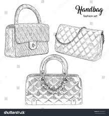 pencil sketch hand drawn set handbags stock vector 555536797