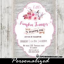 pumpkin first birthday invitations pink u0026 orange personalized