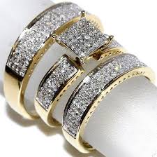 trio wedding sets 1ct diamond yellow gold trio wedding set princess cut style pave