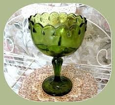 vintage green glass pedestal bowl decor christmas decor glass