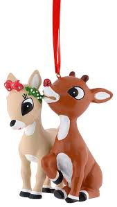 department 56 rudolph the nosed reindeer and clarice ornament