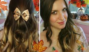 autumn inspired half up hairstyle using dip dye hair extensions