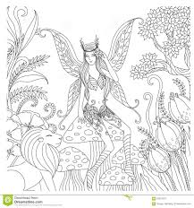 hand drawn fairy playing in the forest for coloring book for