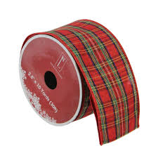 ribbon spools pack of 12 festive and green plaid wired christmas