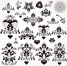 black seamless lace and ornaments vector free vector in