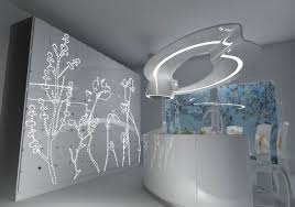 futuristic kitchen light fixtures design with floral led lighting
