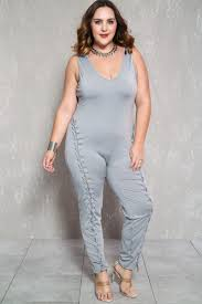 plus jumpsuit grey sleeveless lace up front plus size jumpsuit