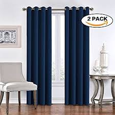 96 Long Curtains Amazon Com Navy Antique Brass Grommet Top Thermal Insulated