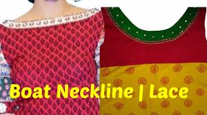 how to cut and stitch designer boat neckline with lace youtube