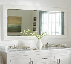 White Mirrors For Bathroom Classic Wide Mirror Pottery Barn