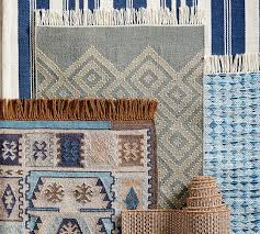 Woven Outdoor Rugs Oxford Stripe Recycled Yarn Indoor Outdoor Rug Blue Pottery Barn