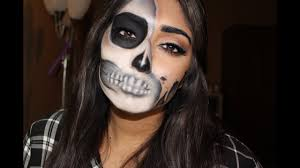 half halloween makeup glam half skull halloween makeup tutorial sukhman kaur youtube