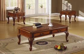 walnut traditional 3pc coffee table w leather like antique top