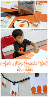 easy apple stamp pumpkin craft for kids diary of a working mom