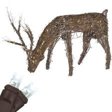 lawn reindeer with lights deer outdoor decorations grapevine reindeer with head down led