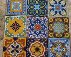 Handmade Mexican Pottery - 36 mixed tiles of talavera 4 x4 handmade