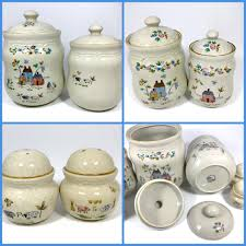 stoneware kitchen canisters country kitchen canister set w salt u0026 pepper shakers 6