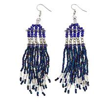 drop bead himalayan gems kinaara blue bead tassel drop earrings 8580903