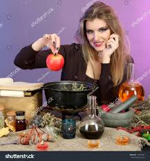 halloween coldren background halloween witch preparing poison soup her stock photo 116595481